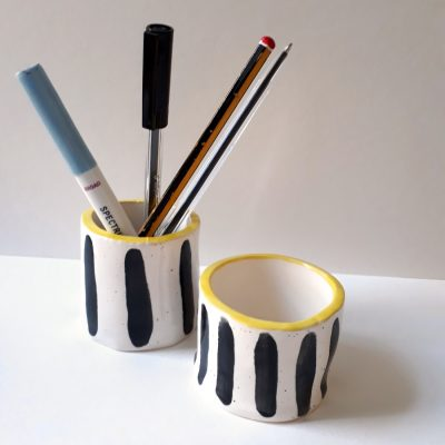 2 yellow stripe pots with penssquare