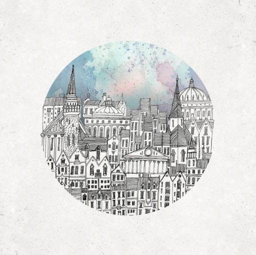 a circular vignette is applied to Fleck's city drawing with a colourful sky in the backdrop