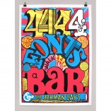 4 fonts, bar, beer, jokes, andy smith, screen print, bright, red door gallery, beer cheers