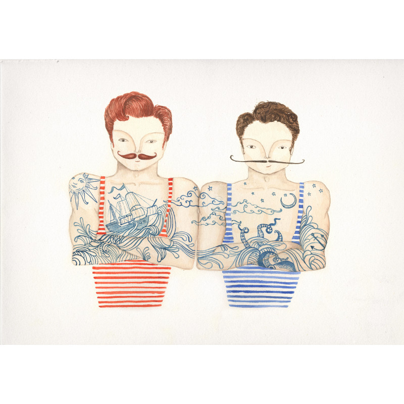Tattoo Swimmers - Framed Prints (approx A3 Size), Giclée, Gocco ...