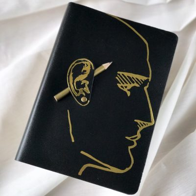 A5 Ear Journal complete with Pencil black gold