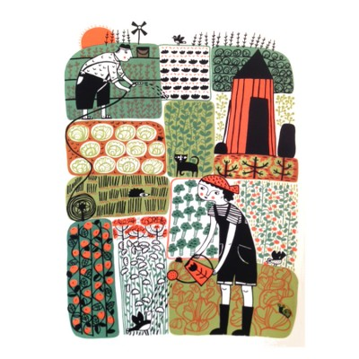 Allotment screenprint by Mina Braun