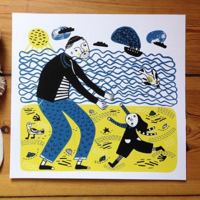 at the beach, parent life, father and child, beach life, togetherness, mina braun, screen print