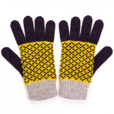 Aubergine and bright yellow Cross Ladies Lambswool Gloves by Catherine Tough