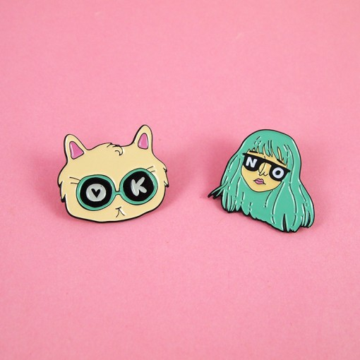 BFF's, Best Friends Forever, Rebels, Toby Likes Cats, Illustration, Badges, Mint Hair, Cats
