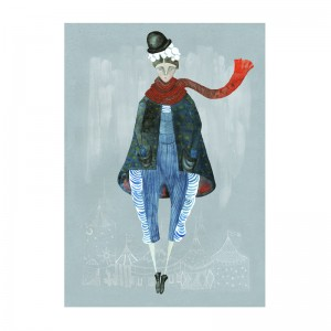 bailey, bowler man, claire fleck, sale print, winter