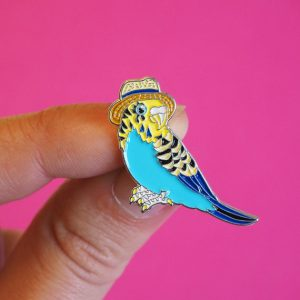 Budgie in a Trilby Enamel Pin by Alice tams