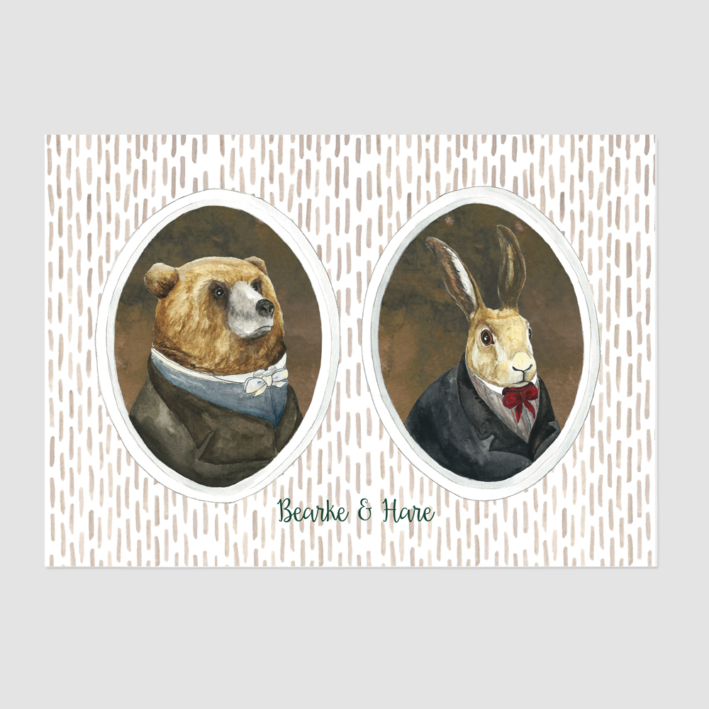 Bearke and Hare Print by Mister Peebles
