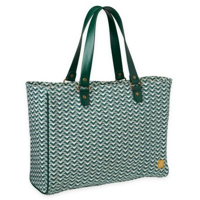 Canvas shopping tote green twist