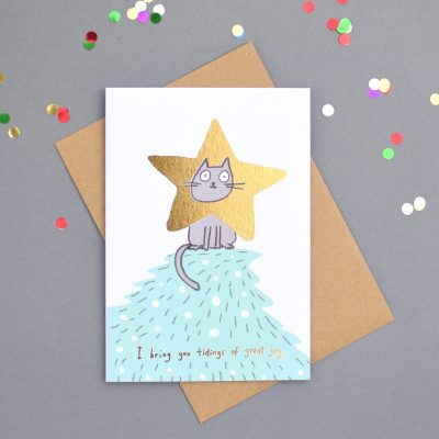 Cat Star Foiled Xmas Card