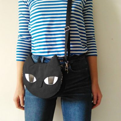 Cat accross body bag - as worn -by Mika Bon Bon at The Red Door Gallery