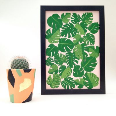 Cheese plant A4 Print on pink Paper by Hello Marilu for The Red Door Gallery