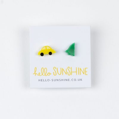 Christmas, Xmas Earrings, Christmas Car, Christmas Tree, Hello Sunshine, Acrylic Studs