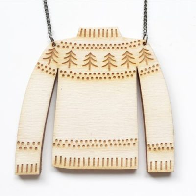 christmas jumper, festive knitwear, hello sunshine, necklace, jewellery, Lasercut
