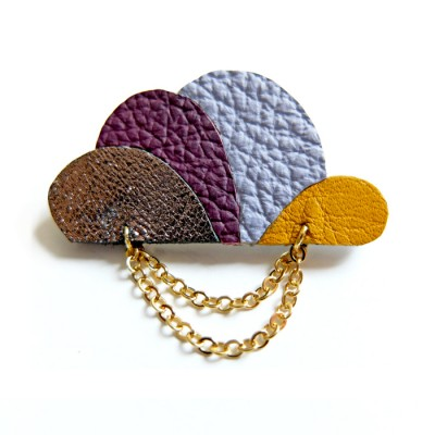 Cloud Brooch in plum and yellow