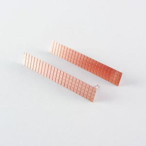 Copper Rectangle Grid Earrings