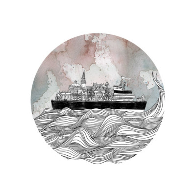 A boat sails over black and white sea with motteled sky through circular cameo