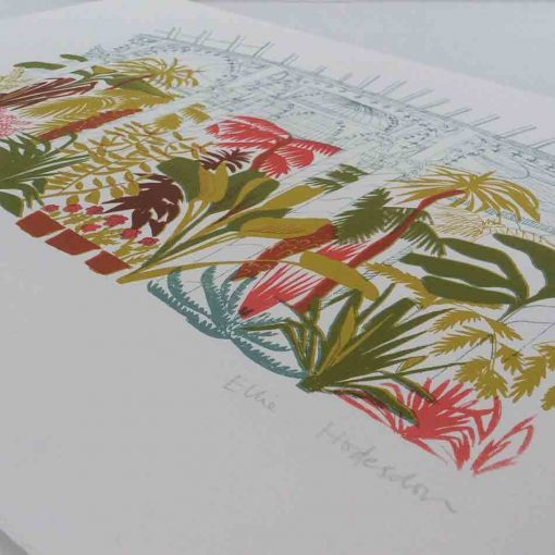botanic gardens, glasgow, plants, greenhouse, tropical, screen print, limited edition, hand pulled, east end press