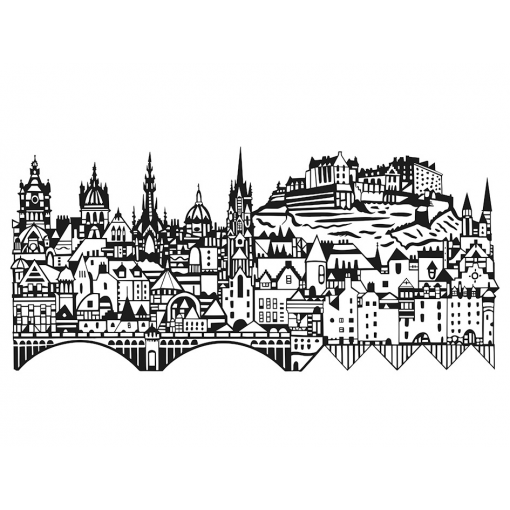 Edinburgh skyline screenprint by susie wright at the red door gallery