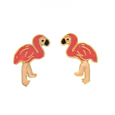 flamingo earrings, enamel jewellery, tropical jewellery, acorn and will