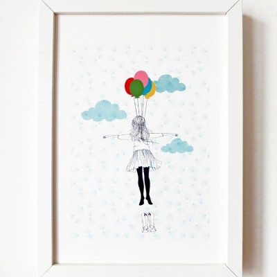 Flying illustration by Akabe on fabric