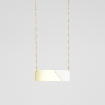 Form Bar Necklace Brass and Grey