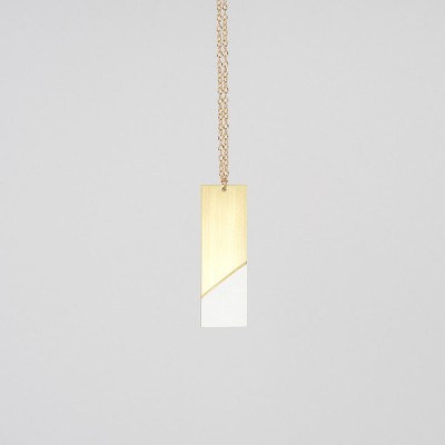 Form Drop Necklace Brass and Grey