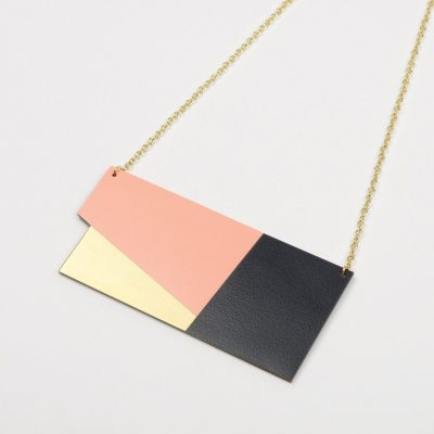 Form Panel Necklace Brass & Blush