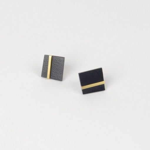 Form Square Earrings - Brass Midnight by Tom Pigeon