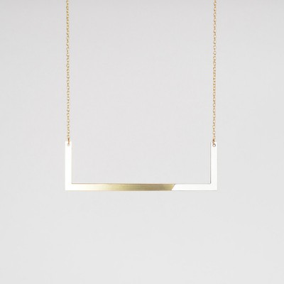 Form Square Necklace Brass Grey