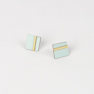 Form square brass and ice earrings