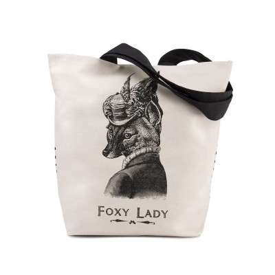 Foxy Lady Printed Canvas tote bag by Chase and Wonder