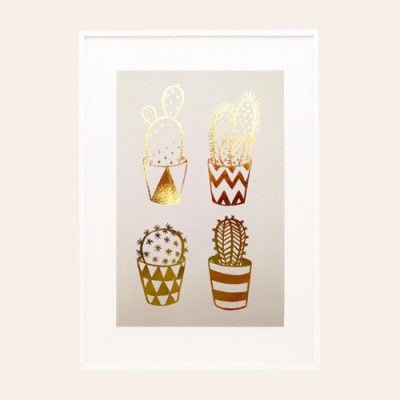 Gold Foil Cacti A4 Screen Print on Pink by Hello Marilu for The Red Door Gallery