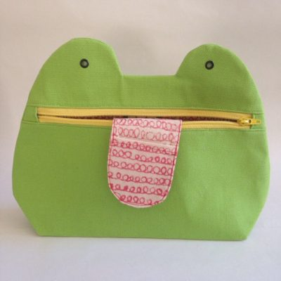 Green Zip Monster Handmade Cosmetic Bag - yellow zip - by Mika Bon Bon at The Red Door Gallery