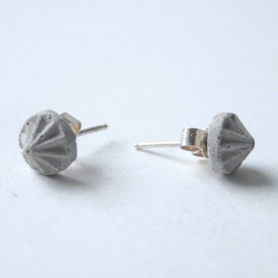 Grey Concrete Stud Earrings Gems