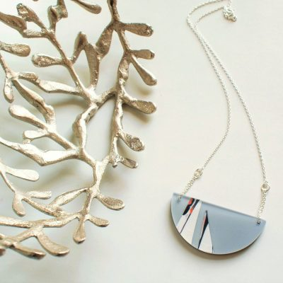 Grey Half Circle Necklace