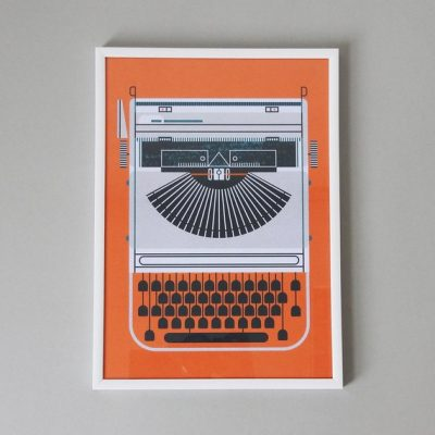 Grey Typewriter on Orange