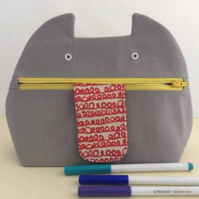 Grey Zip Monster Handmade Cosmetic Bag - yellow zip - by Mika Bon Bon at The Red Door Gallery