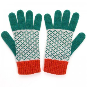 Grey and Green Cross Lambswool Gloves