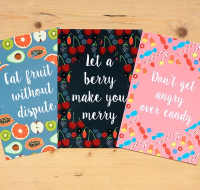 Healthy Diet Manifesto 3 of the Set of 5 Postcards  by Maria Rikteryte