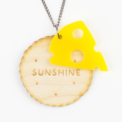 cheese and biscuits, cheese, crackers, wooden jewellery, acrylic jewellery, hello sunshine, jo want