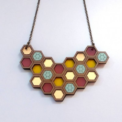Large Hex Geometric Necklace