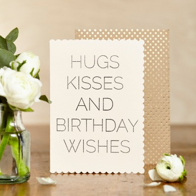 Hugs, Kisses and Birthday Wishes Card by Katie Leamon