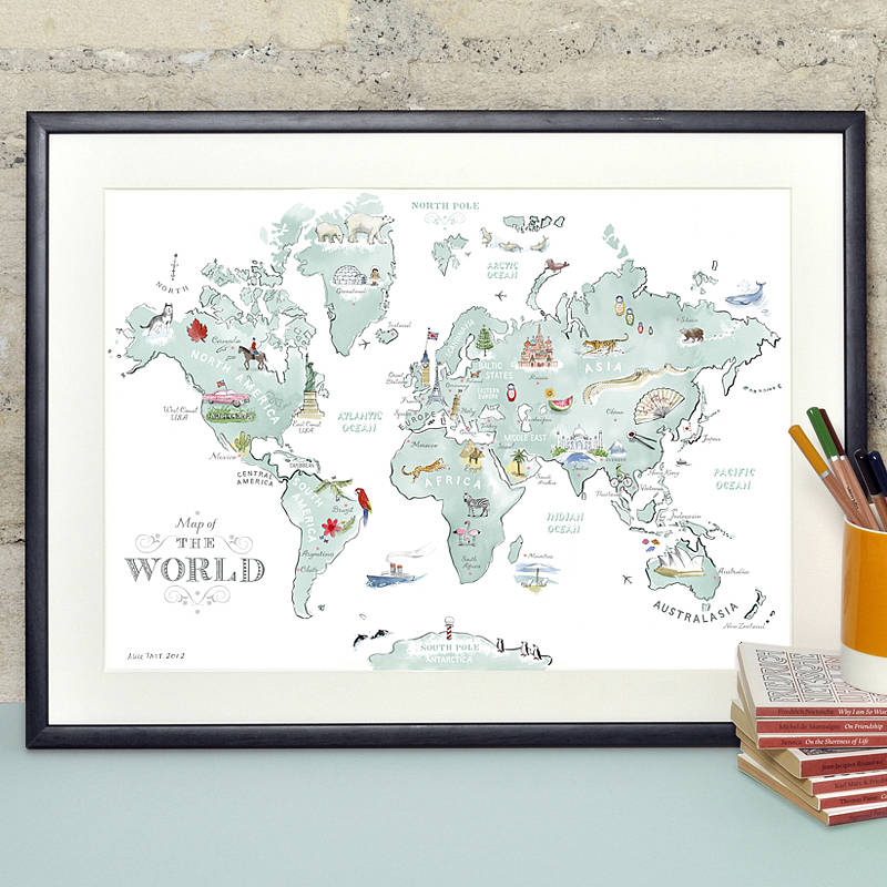 Illustrated world map art prints life at sea sale products illustrated world map art prints life at sea sale products the red door gallery art prints design products and creative gifts gumiabroncs Image collections