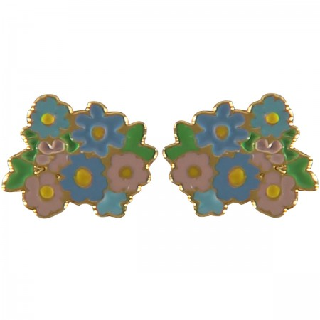 jean flower earrings, enamel jewellery, flowers, brights, pastels, acorn and will
