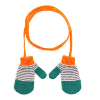 Kids Green Lambswool Mittens on a String