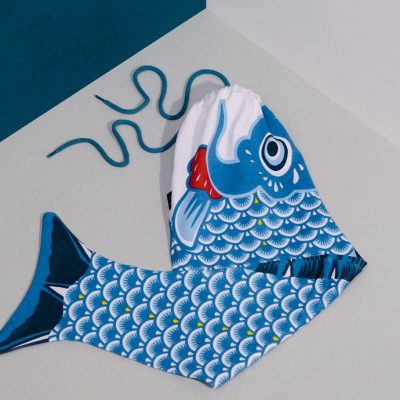 Koinobori - fish laundry bag - packaged - blue at the red door gallery