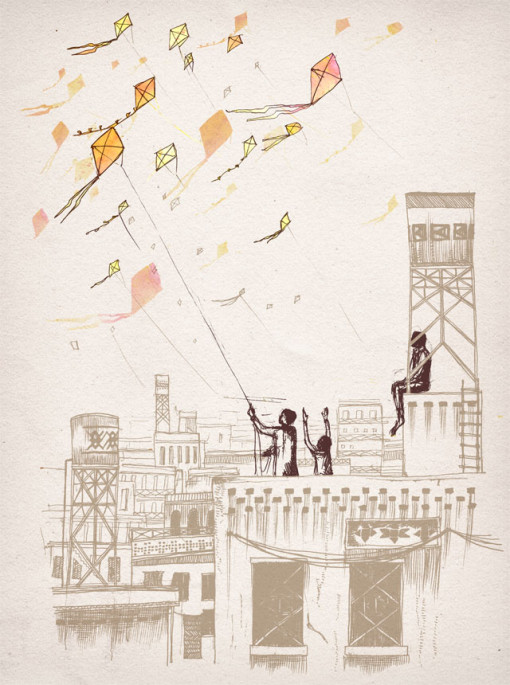 A group of figures fly their kites from the rooftops of buildings
