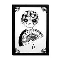 A black illustration printed on white paper with a 1920's esque three quarter portrait with fan