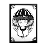 A Black illlustration printed on white paper of a 1920's esk three quarter portrait with a hat on